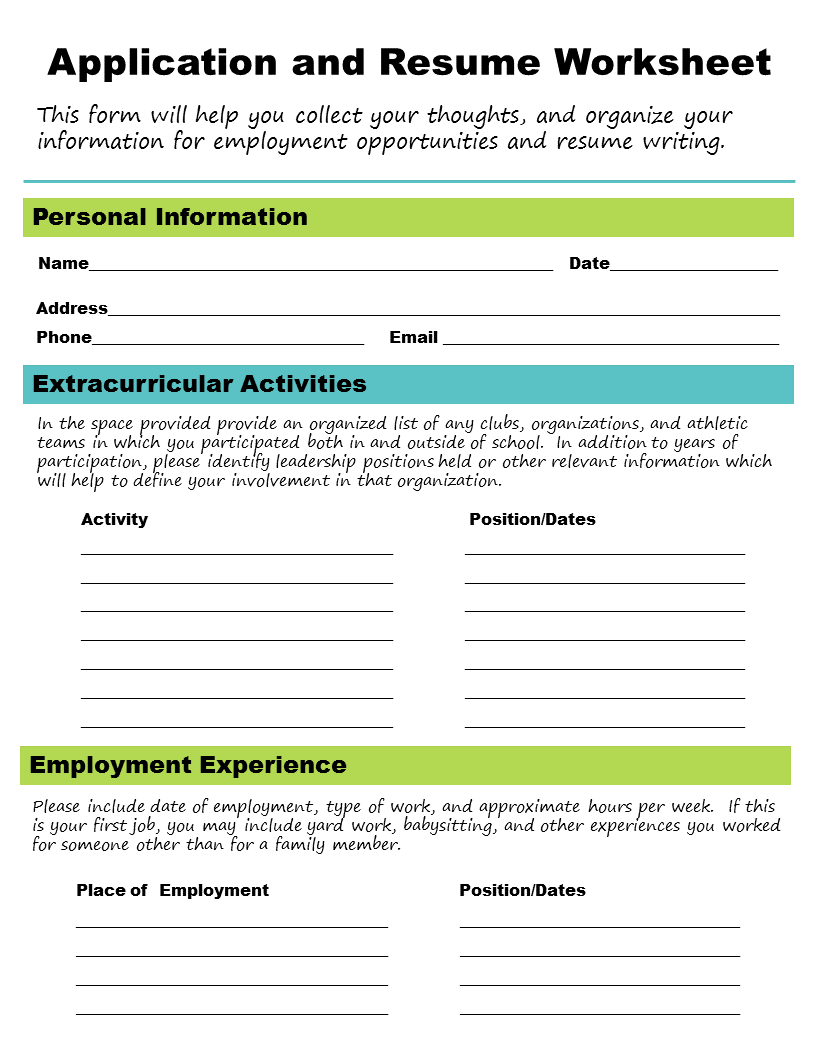 Application and Resume Worksheet from Get A Job!   School counselor [ 1056 x 816 Pixel ]
