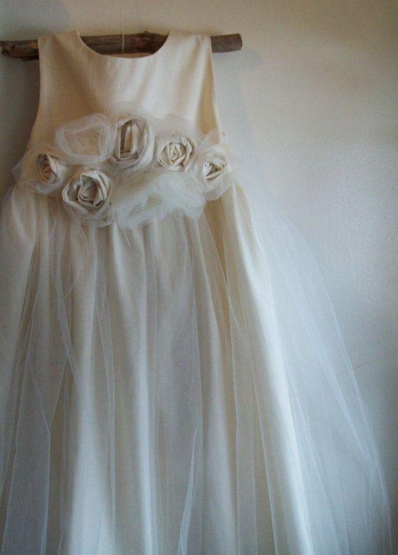 Flower Girl Dress natural Organic cotton flower girl dress tulle flower girl dress lace flower girl dress