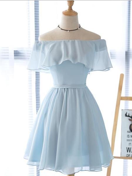 Simple Off The Shoulder Light Blue Chiffon A Line Short Homecoming Dress, BTW184 Simple Off The Shoulder Light Blue Chiffon A Line Short Homecoming Dress, BTW184 1