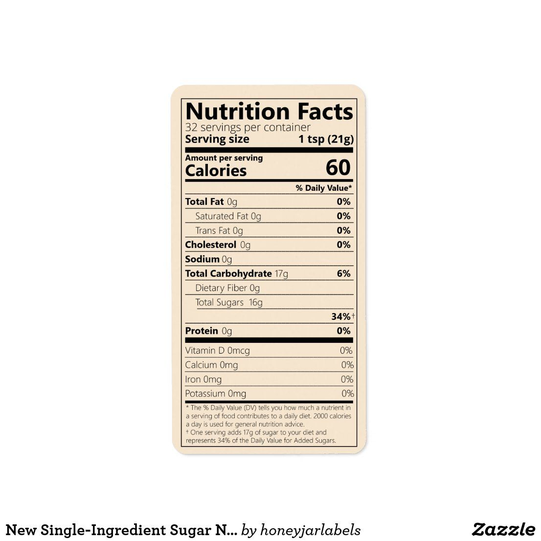New Single Ingredient Sugar Nutrition Facts Label Zazzle Com Nutrition Facts Label Sugar Nutrition Nutrition Facts