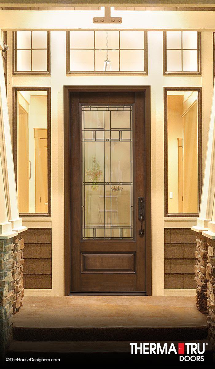 3 4 Lite 1 Panel Fiberglass Exterior Door With Decorative Glass By Therma Tru Fiberglass Exterior Doors Fiberglass Entry Doors Glass Decor