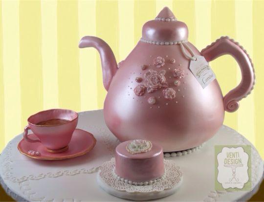 Teapot Cake, pink teapot, cup and mini-cake