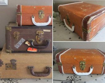 Vintage Suitcase Stackable Suitcase Small Suitcase Childs Suitcase Vintage  Luggage Antique Luggage Rustic Home Decor Luggage