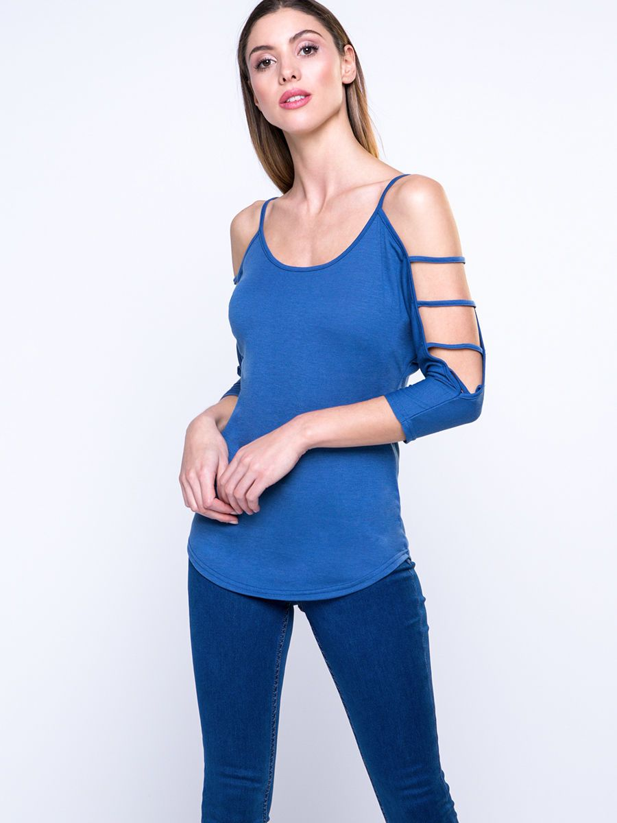 #AdoreWe #FashionMia Long sleeve T-shirts - Designer FashionMia Open Shoulder Fashion Solid-Color Long Sleeve T-Shirt - AdoreWe.com