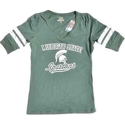 Michigan State Spartans Glitter Gear Women Green 1/2 Sleeve Long V-Neck T-Shirt