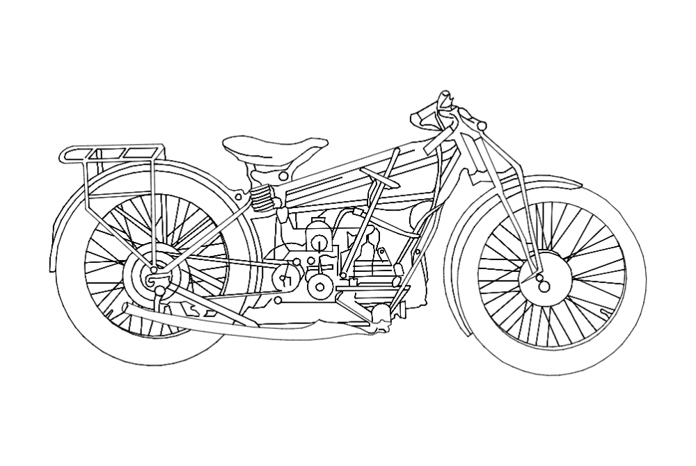 Motorcycle Old Free Dxf File Free Download CDR DXF