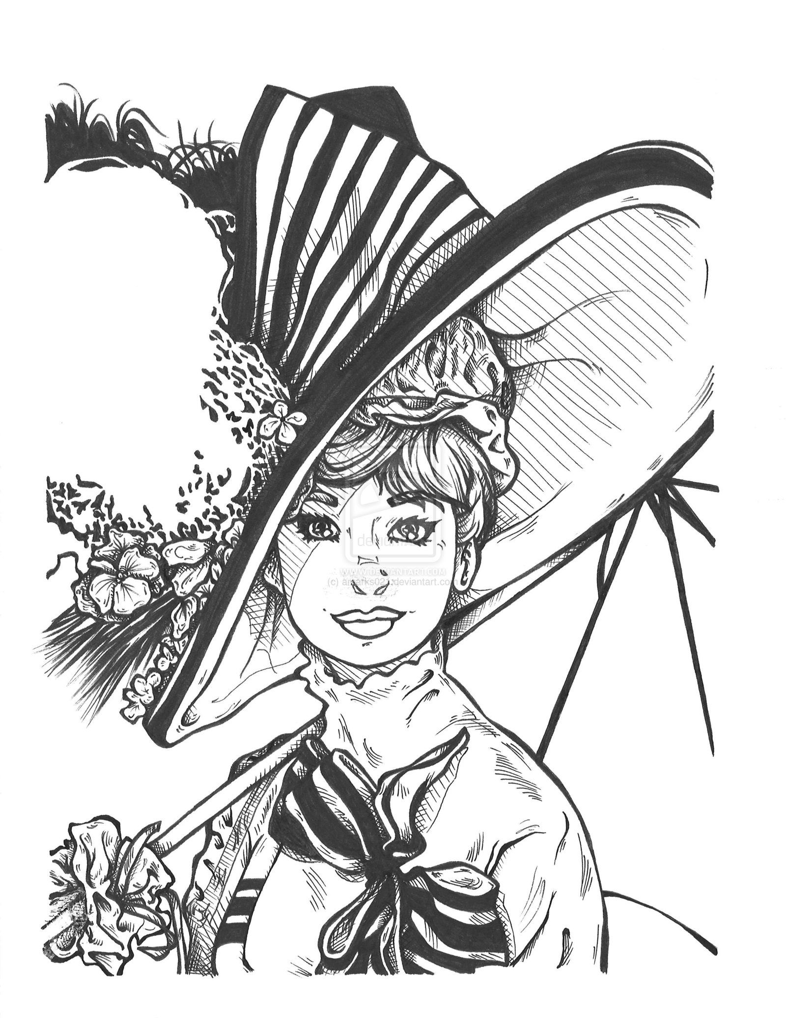 My fair lady by on deviantart for Lady coloring pages