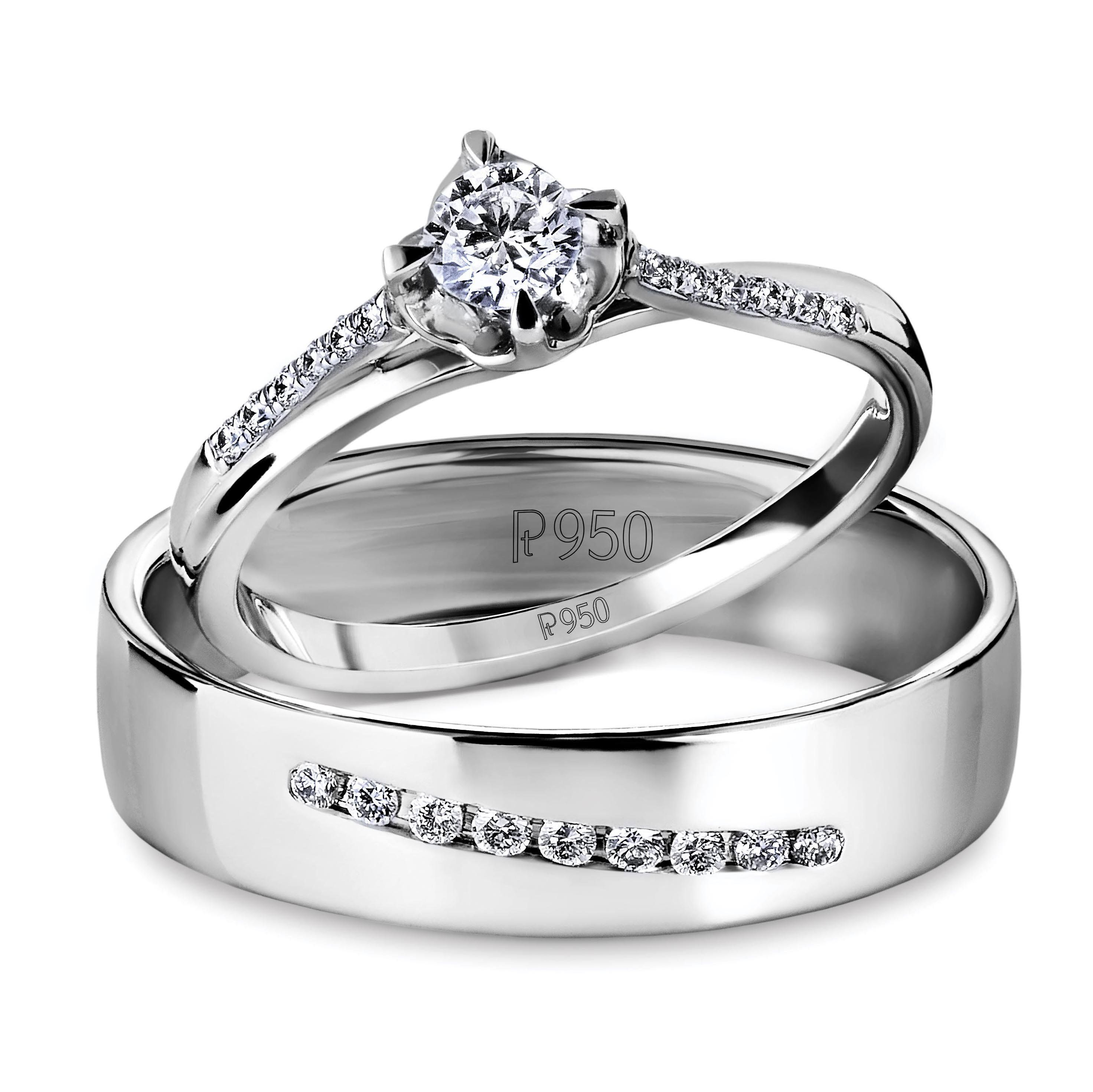 Designer Platinum Love Bands with Diamonds JL PT 597