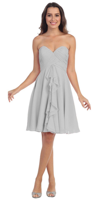 Knee length chiffon bridesmaid dress off white sweetheart neck
