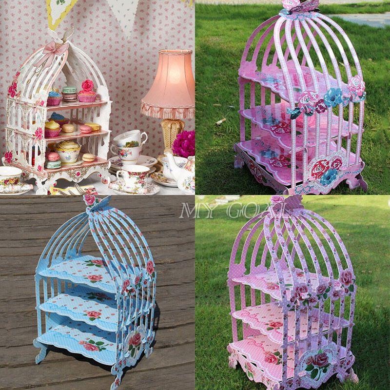 Birdcage cupcake cardboard cake stand vintage wedding