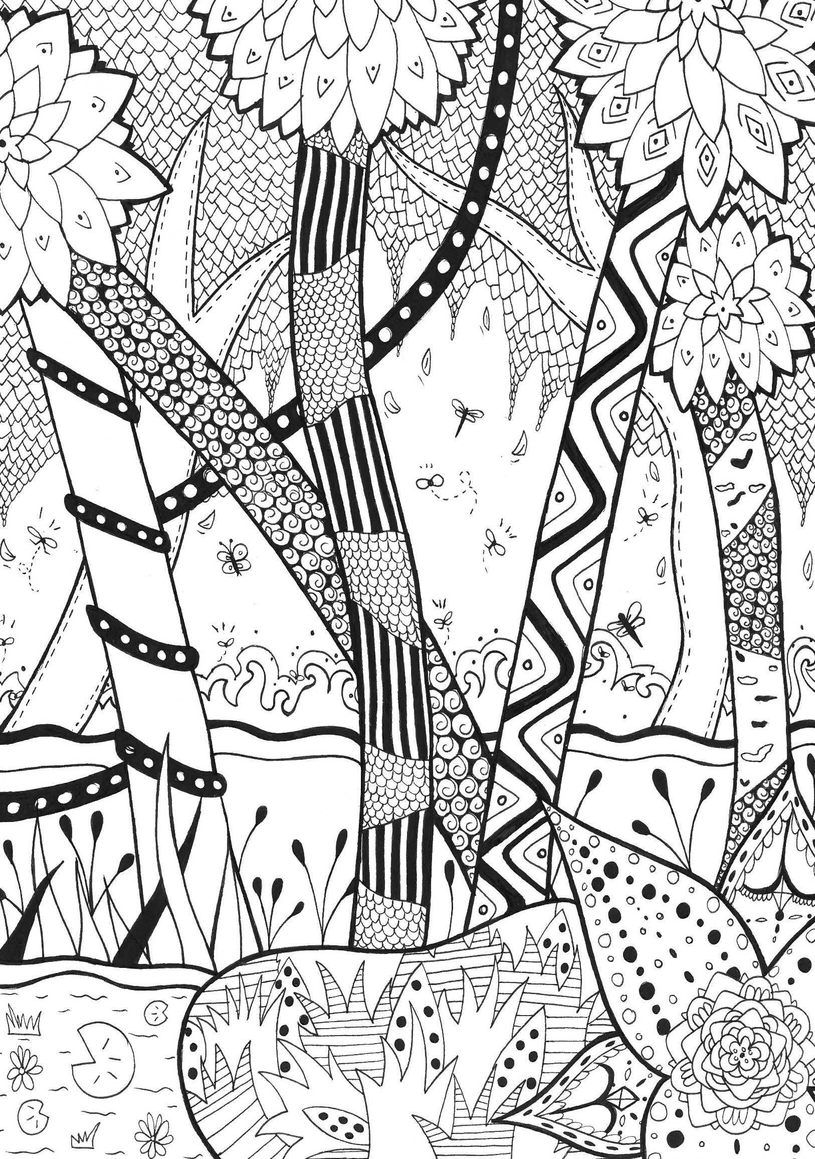 Enter In The Magical Forest Of Zentangle For A Coloring Page Time From Gallery ZentangleArtist Rachel