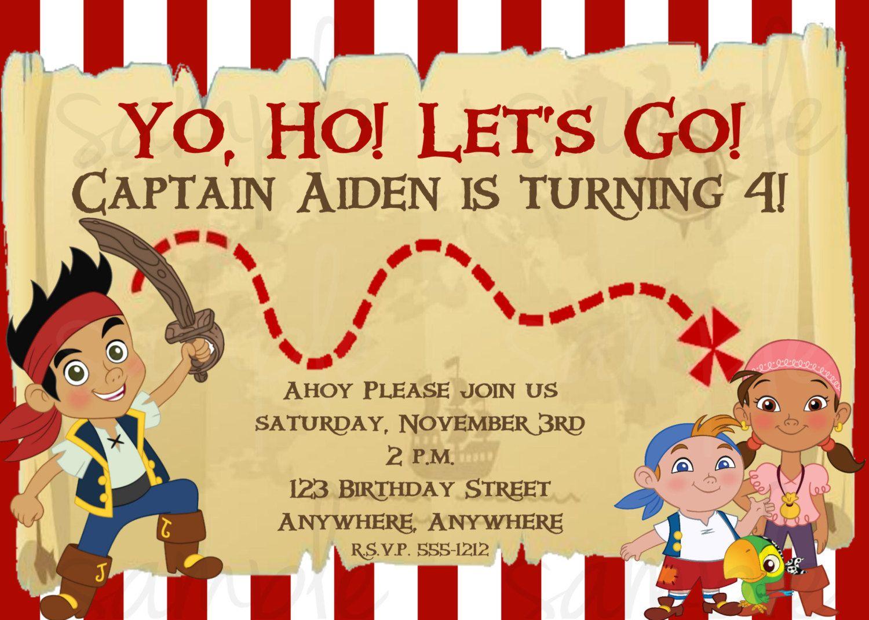 Jake and the Neverland Pirates Birthday Invitation | Pirate birthday ...
