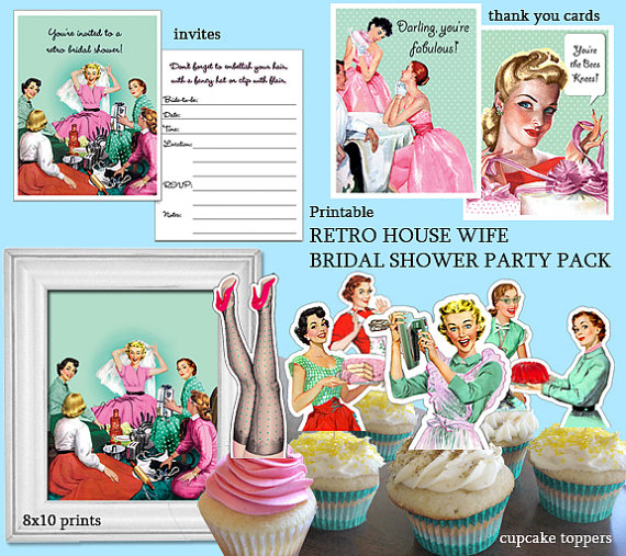 retro housewife bridal shower printable by thequirkyartistloft