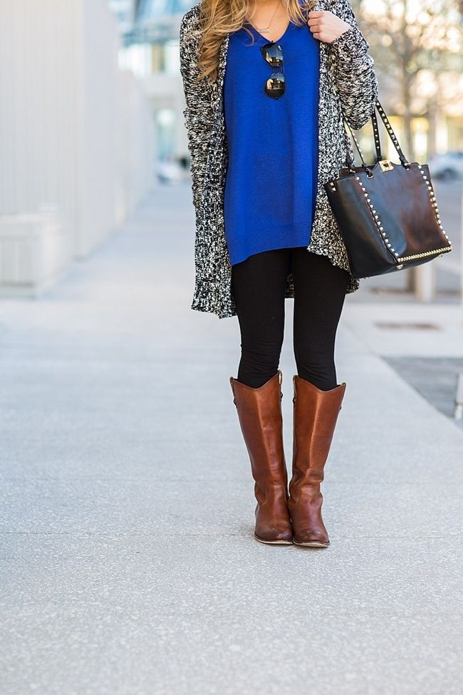 8d72ef9a63 Cobalt Blue Sweater, Black leggings with brown boots | Brighton The ...
