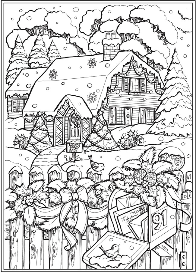Cabin with Mailbox Winter Scene from Creative Haven Country Christmas Coloring...