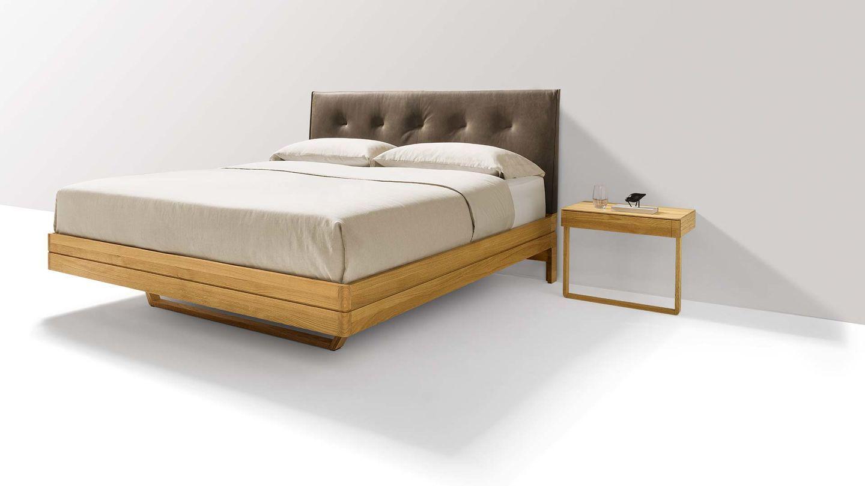 Designerbett aus Holz mit Kopfhaupt in Leder Designer