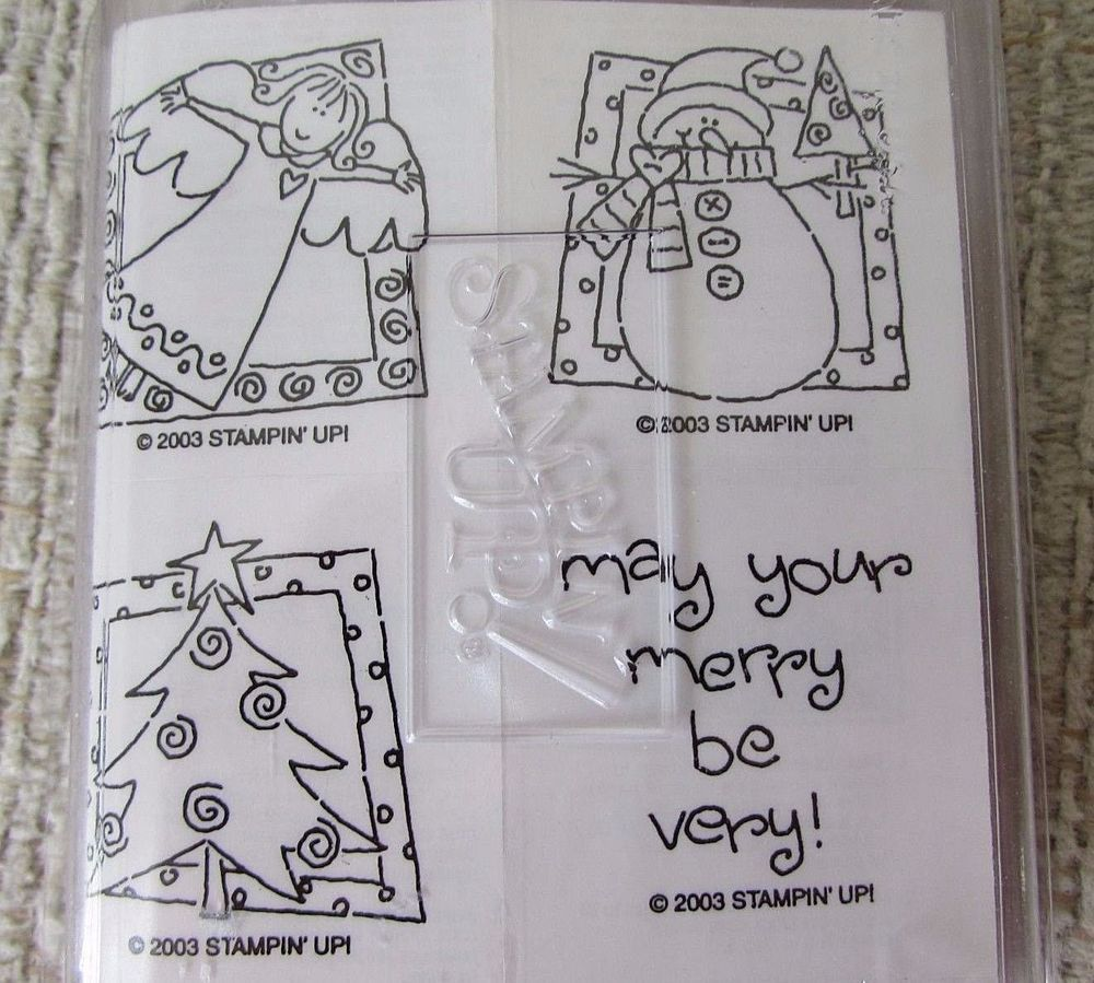 Stampin' Up Very Merry Christmas 4 Stamp Set Tree Angel