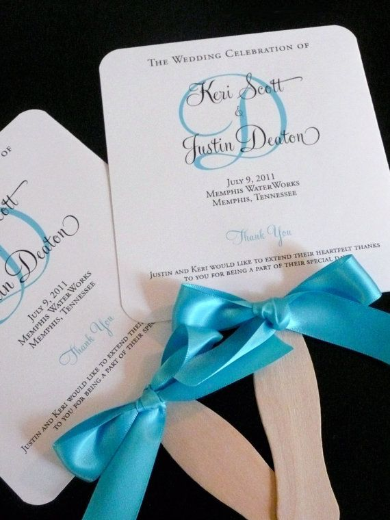 Program Fans  Turquoise Wedding Programs  Church Programs