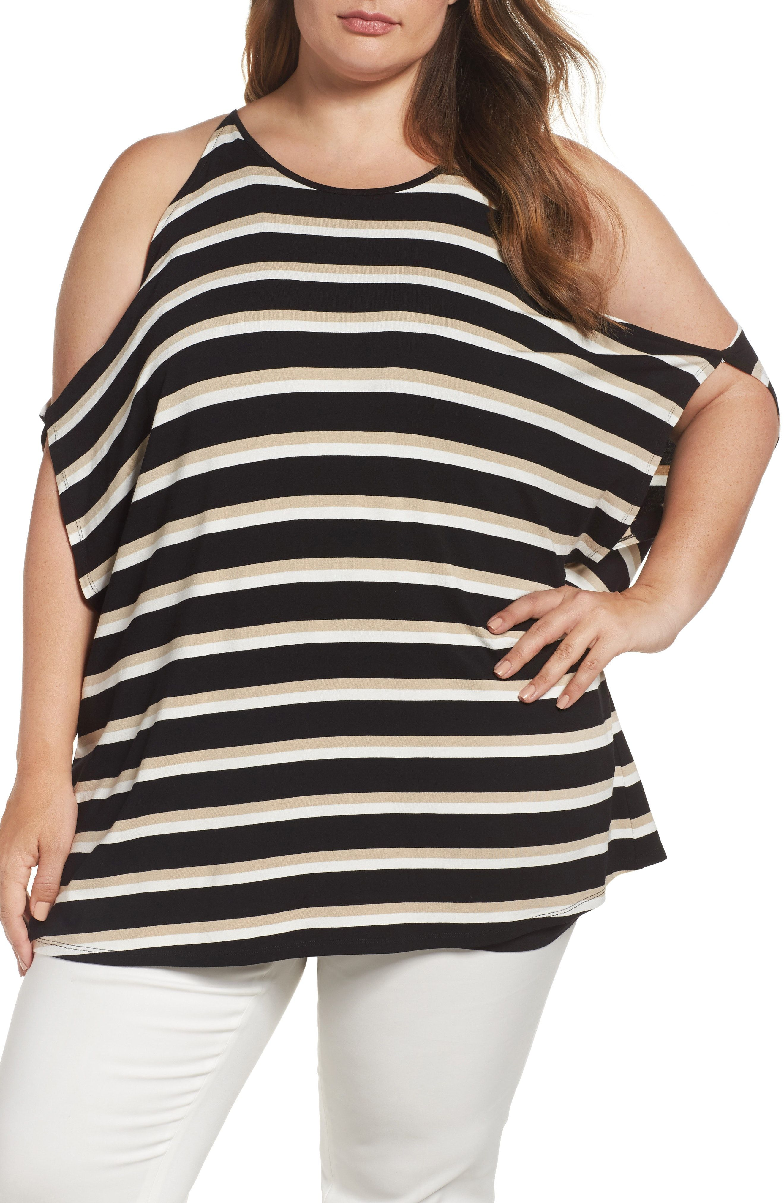 00fcda3dfa6cc New Vince Camuto Desert Stripe Cold Shoulder Top (Plus Size) H PINK fashion  online.   89  new offer from Thenewoffer