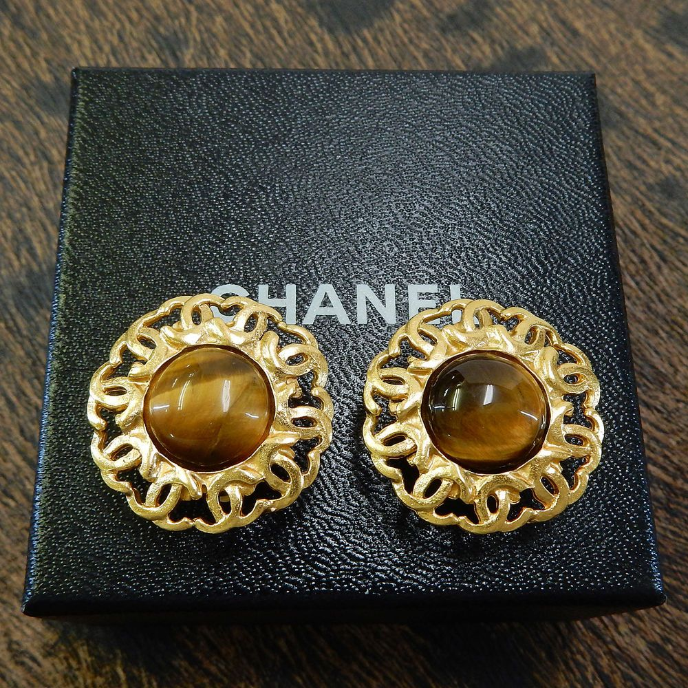 9d44154b540b Rise-on CHANEL Gold Plated CC Logos Stone Vintage Round Clip Earrings #1578  (eBay Link)