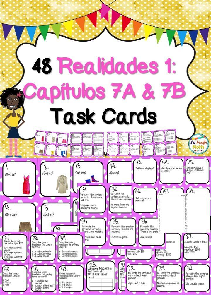 Printable Worksheets realidades 1 worksheets : Spanish Realidades 1: Capítulos 7A & 7B Task Cards | Textbook ...