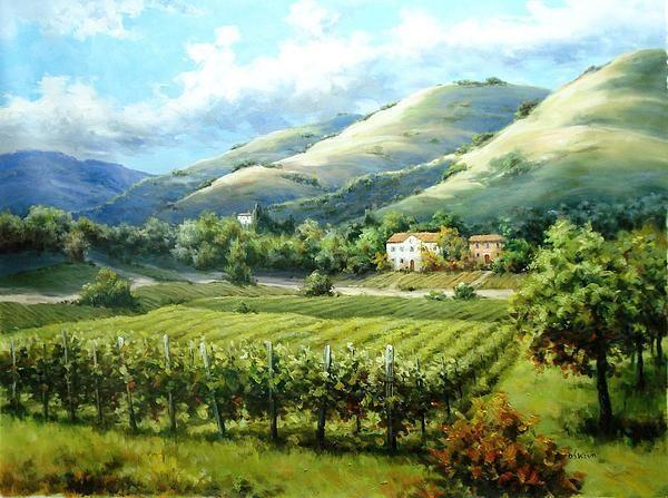 Tuscan Monastery Vineyard Painting - David Kim