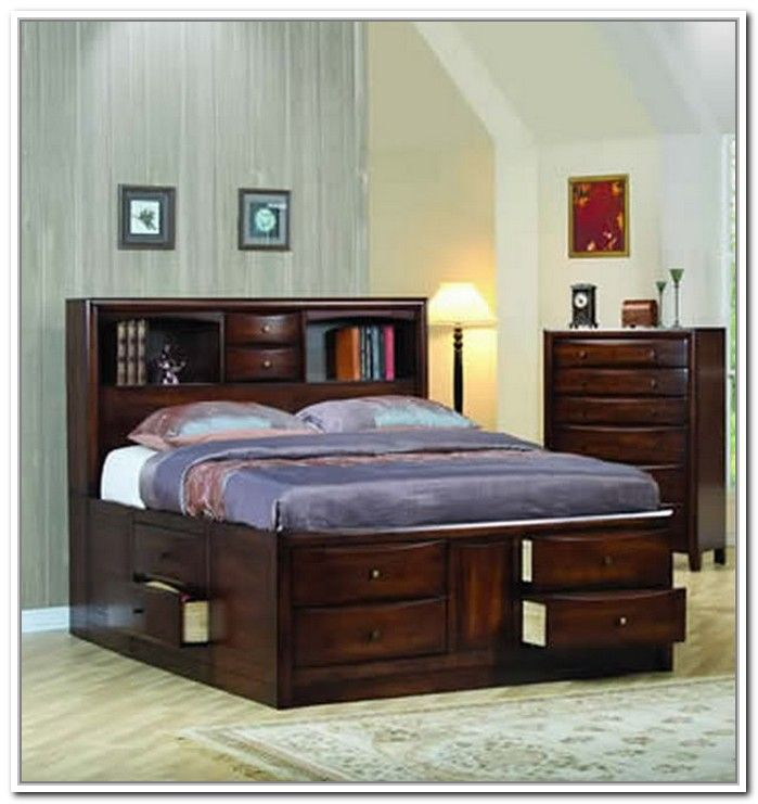Inspiration for bed frame Twin Storage Bed With Bookcase Headboard