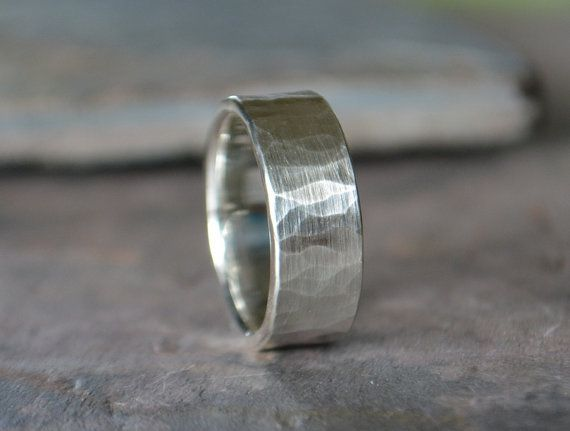 Men's Wedding Band Comfort Fit Hammered by RubyPierceJewelry
