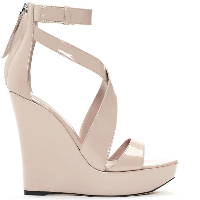 f67e7b92e0f5 Tania Spinelli Spring 2014 Collection - Nude patent leather platform wedge  with criss cross front straps and center back zipper