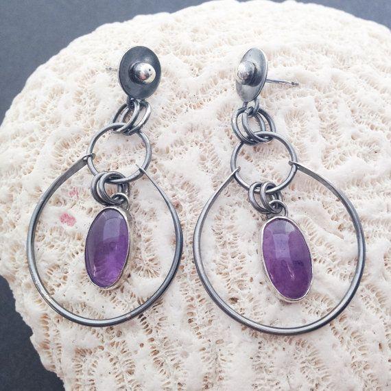 Purple Amethyst Hoop Earrings  Artisan Metalsmith by MosaicSmith