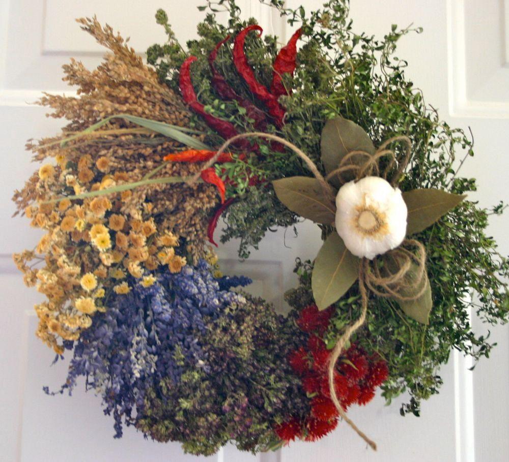 Herb Wreath Culinary Wreath Kitchen Wreath Dried Floral Wreath
