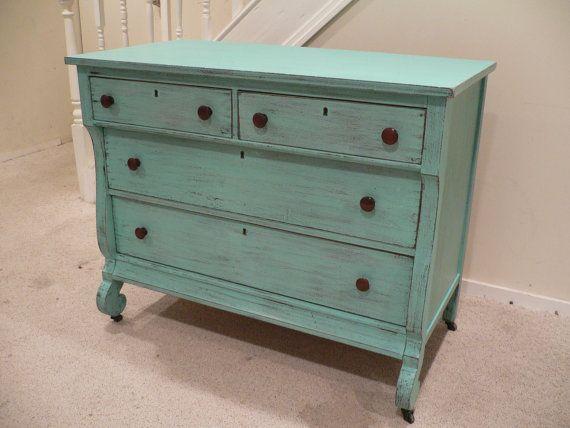 Chic and Shabby Beachy Aqua Dresser by VintageRebornLaura on Etsy, $450.00