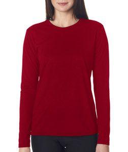 eea0cef12a49 Gildan Ladies  Core Performance Long Sleeve T-Shirt 42400L Cardinal ...