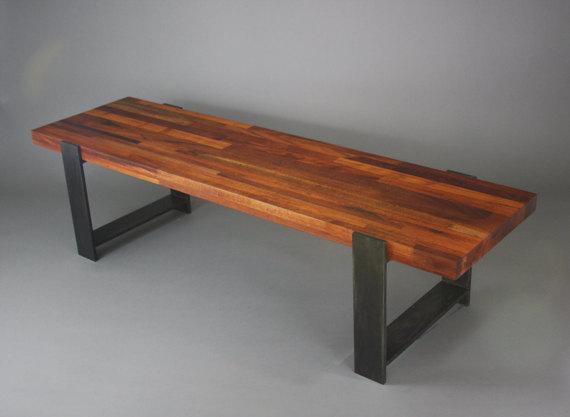 Banco de acero y madera de caoba por HucsonFabricationCo en Etsy ...