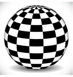 3d Sphere With Checkered Chequered Surface On Op Art Black And White Background Diamond Vector