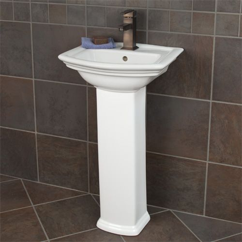 This Sleek And Attractive Square Basin Pedestal Sink With