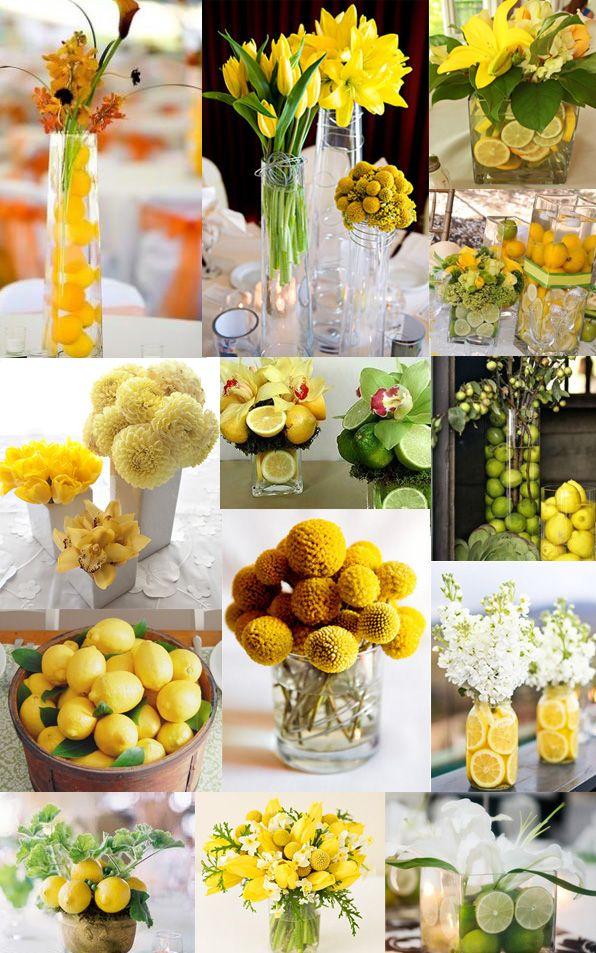 Lemon Yellow Weddings Tulip Centrepieces Limes Yellow Wedding