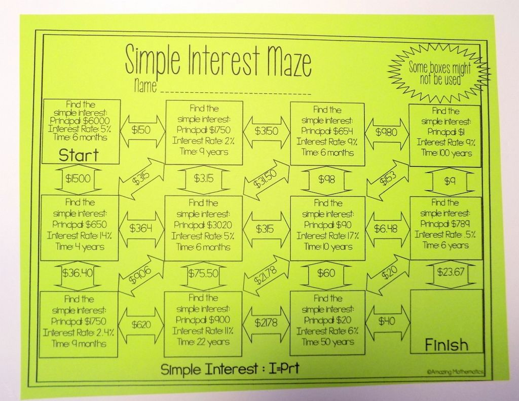 Simple Interest Maze Beginner Worksheet