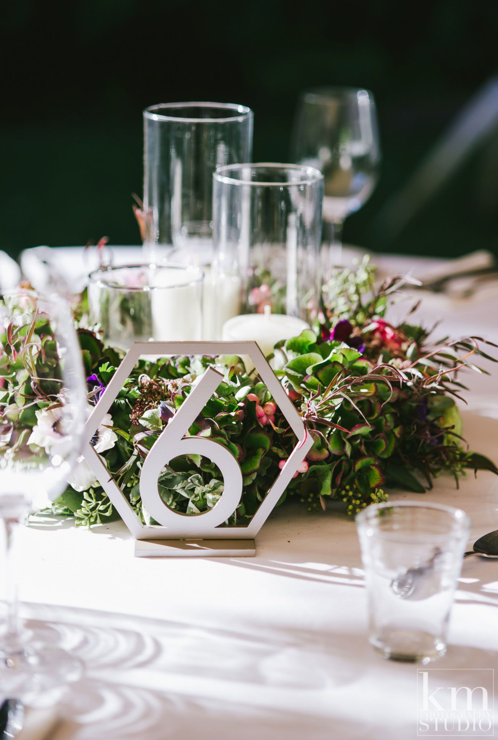 Modern wedding decor images  Geometric Table Numbers for Wedding Wooden Laser Cutout Hexagon