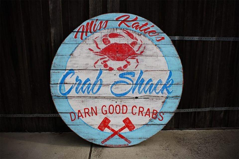 Miss Katie's Crab sack sign