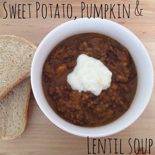 Sweet Potato, Pumpkin & Lentil Soup