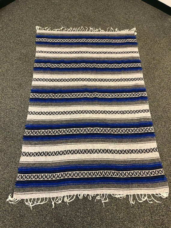 Mexican Falsa Blanket In Blue With Geometric Pattern