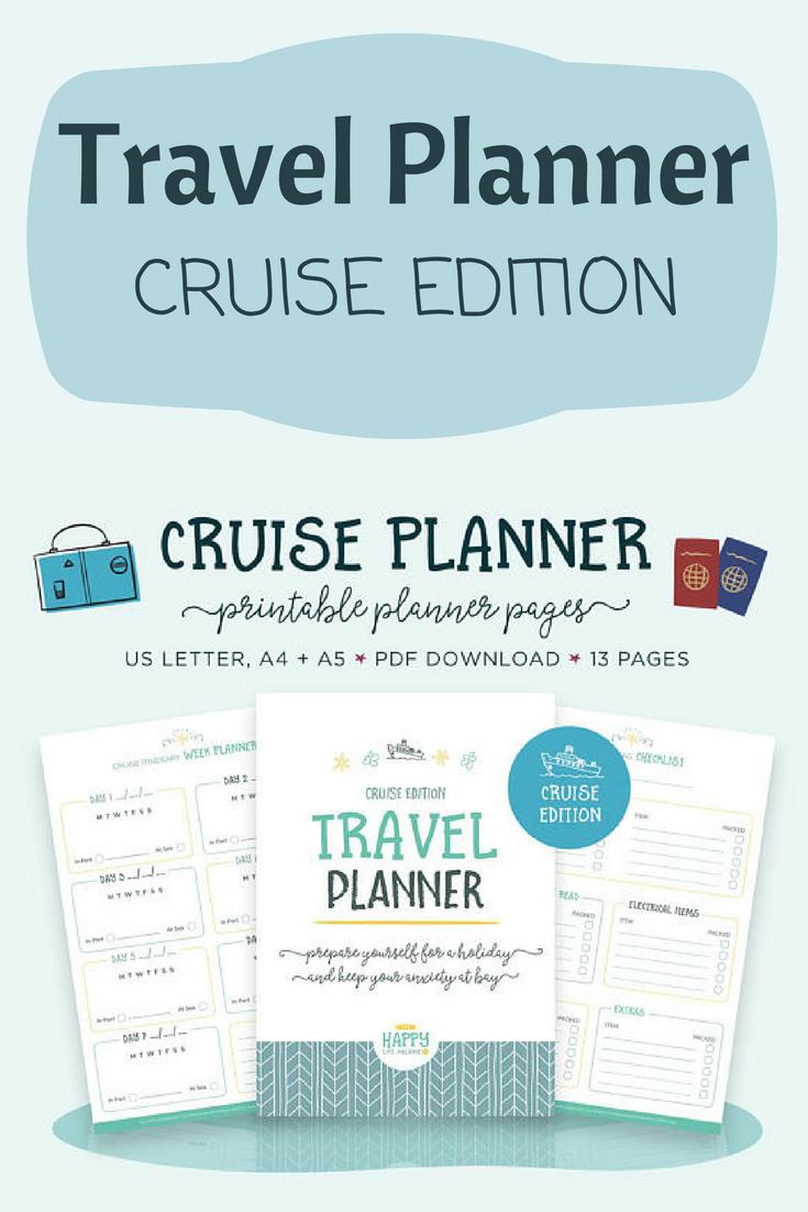 cruise travel planner printable vacation checklist trip planner