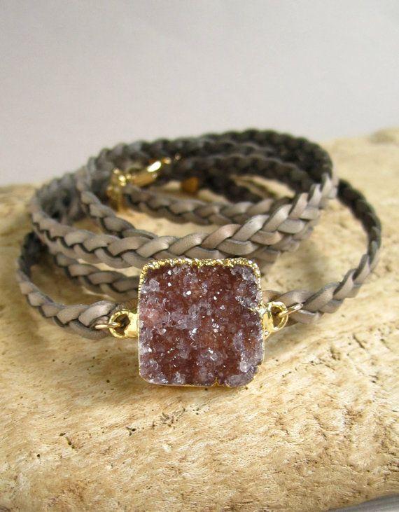 Leather Druzy Bracelet Drusy Quartz Braided by julianneblumlo, $88.00