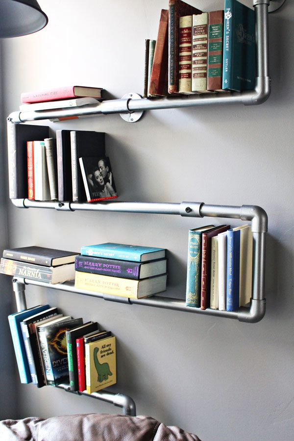 Faux Galvanized Pipe Bookshelf