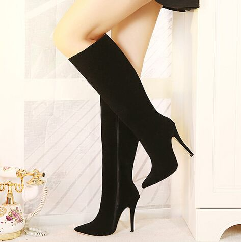 Classy Pointed Toe Stiletto Heels Black Suede Knee High Boots