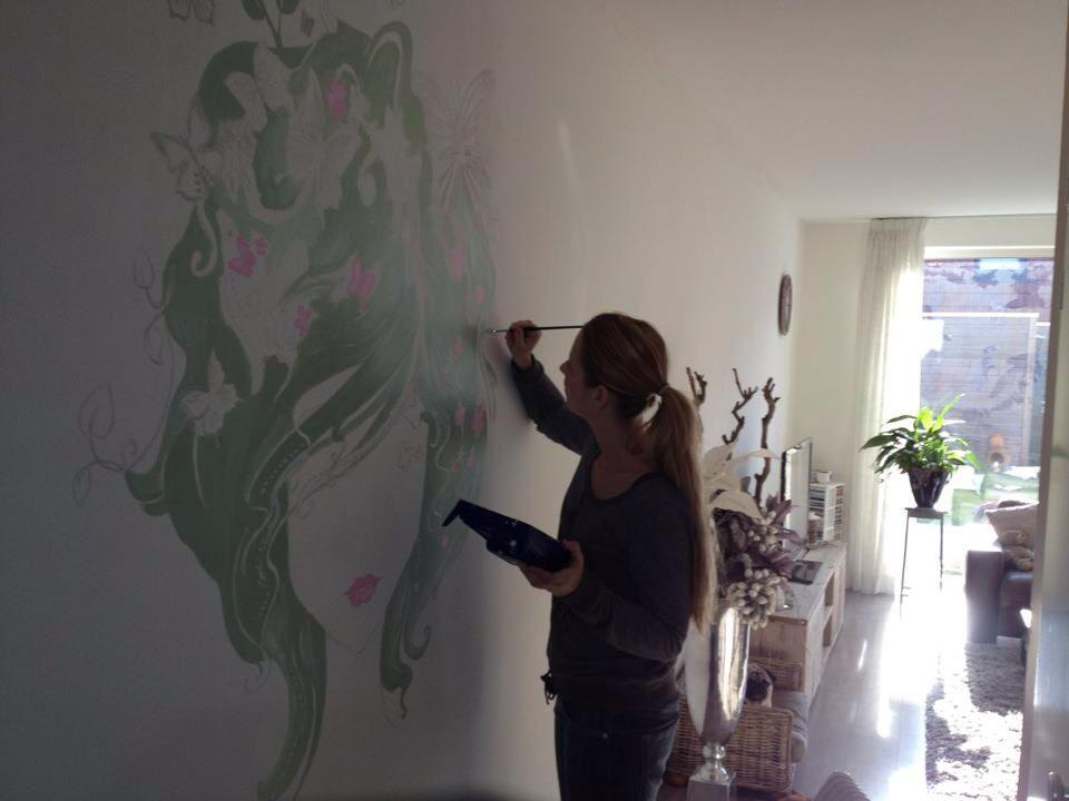 Muurschildering woonkamer | Muur schildering | Pinterest
