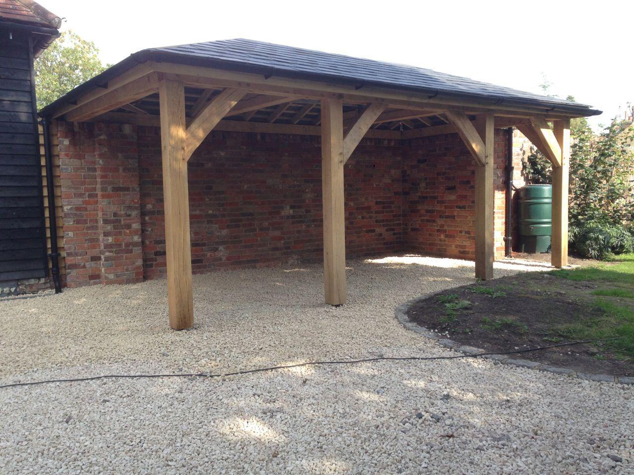 Oak Car Port Oak Frame Guide Oakframe Carport In 2020 House With Porch Carport Carport Designs