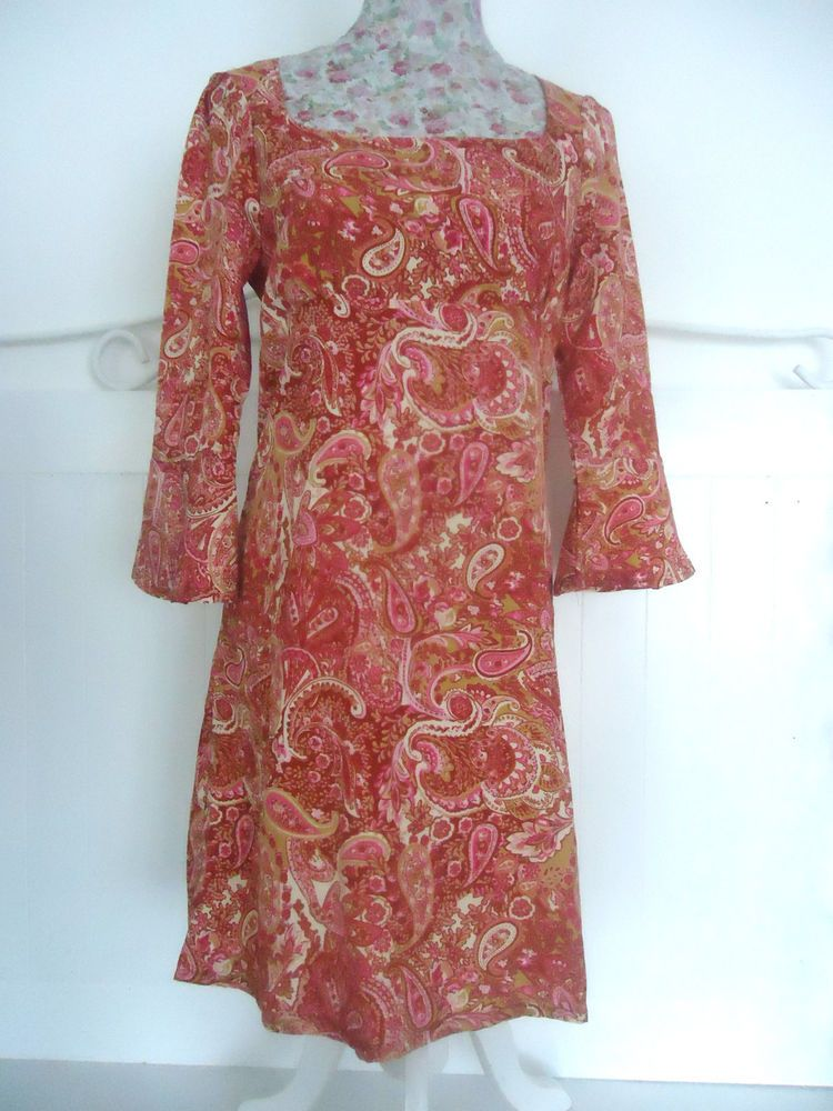 URBAN BEHAVIOUR PINK PAISLEY SHIFT DRESS SIZE 10 POLYESTER