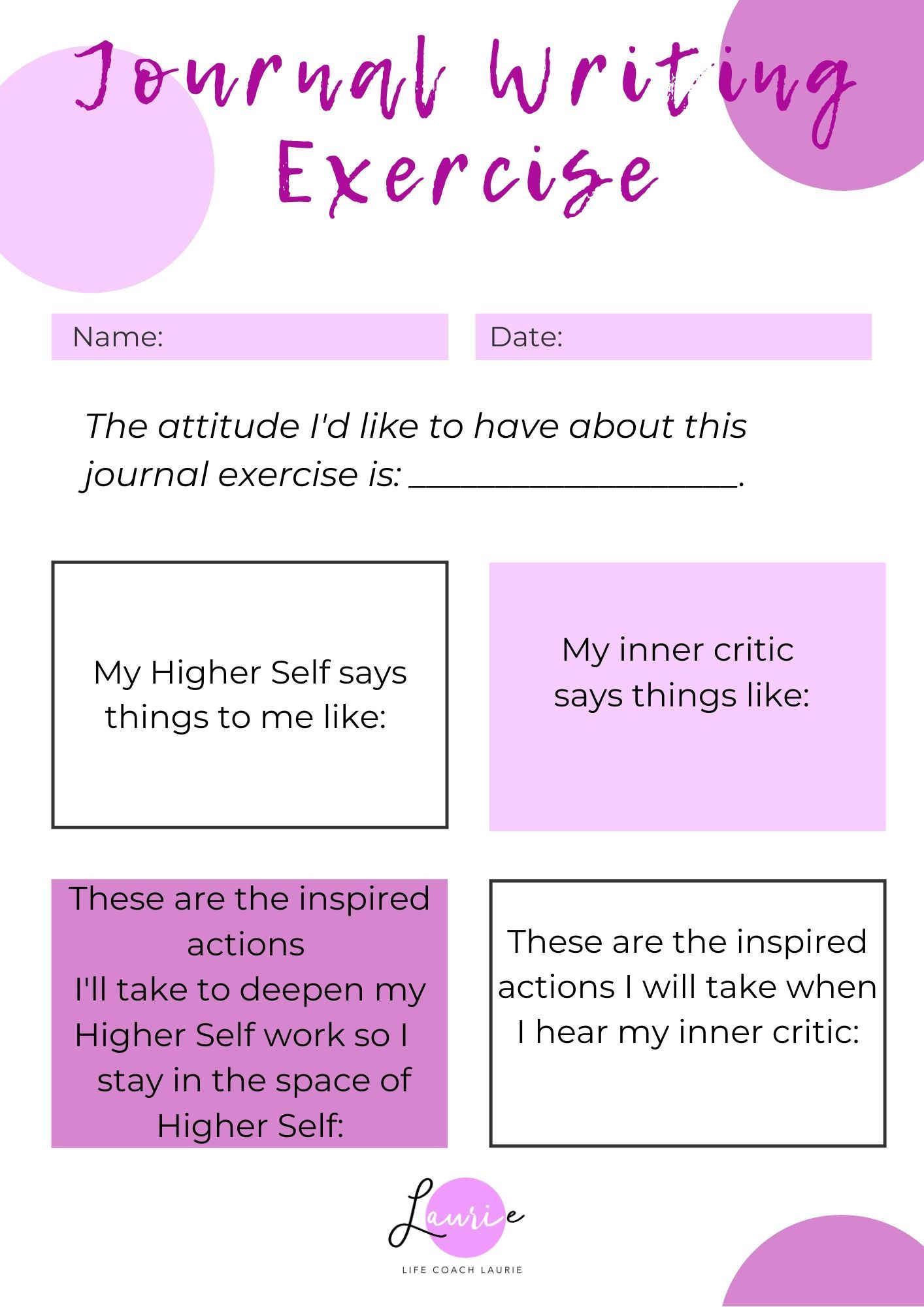 Higher Self Vs Inner Critic Healing Journal Exercise In